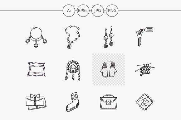 Handmade Gift Flat Line Icon Part 1 Line Icon Online Shop Design Creative Market