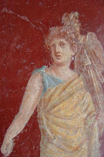 Fresco adorning the walls of the colonnade surrounding the large peristyle garden at the Villa San Marco in Stabiae Roman 1st century CE by mharrsch, via Flickr