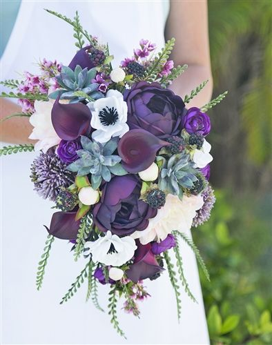 Real Touch Purple Plum Boho Rustic Bouquet - Succulents, Peonies, Anemone and Calla Silk Cascade Bouquet #purpleweddingflowers