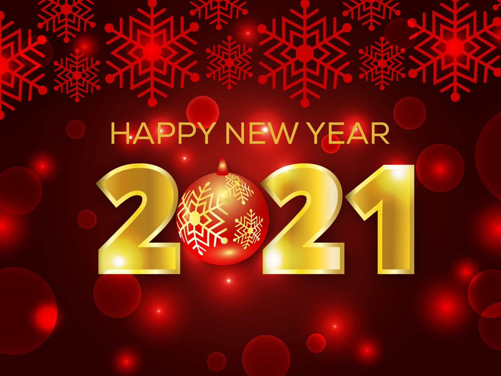 Red Snowflake Bokeh Happy New Year 2021 Vector Background Happy New Year Happy Birthday Wishes Messages Happy New