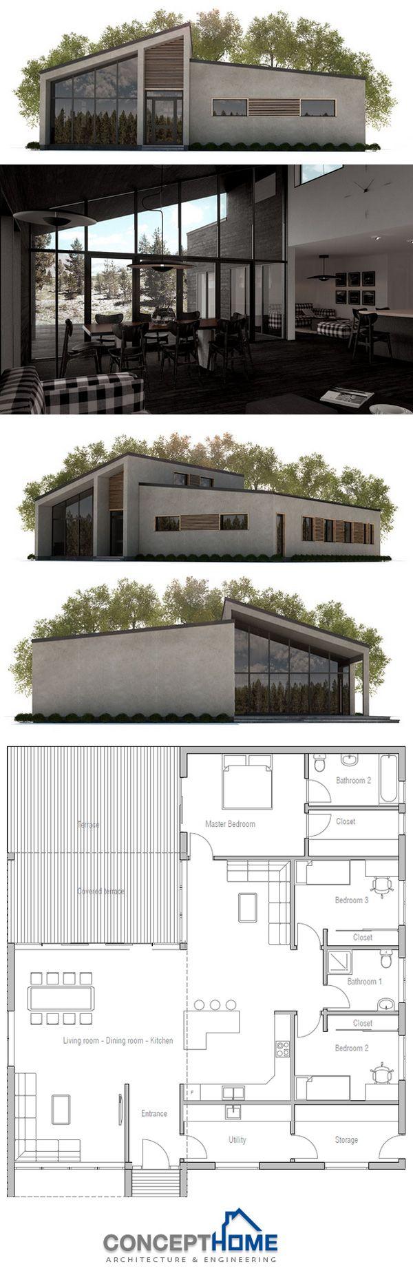 Planta De Casa Ch321 House Plans Facade House Small Modern House Plans