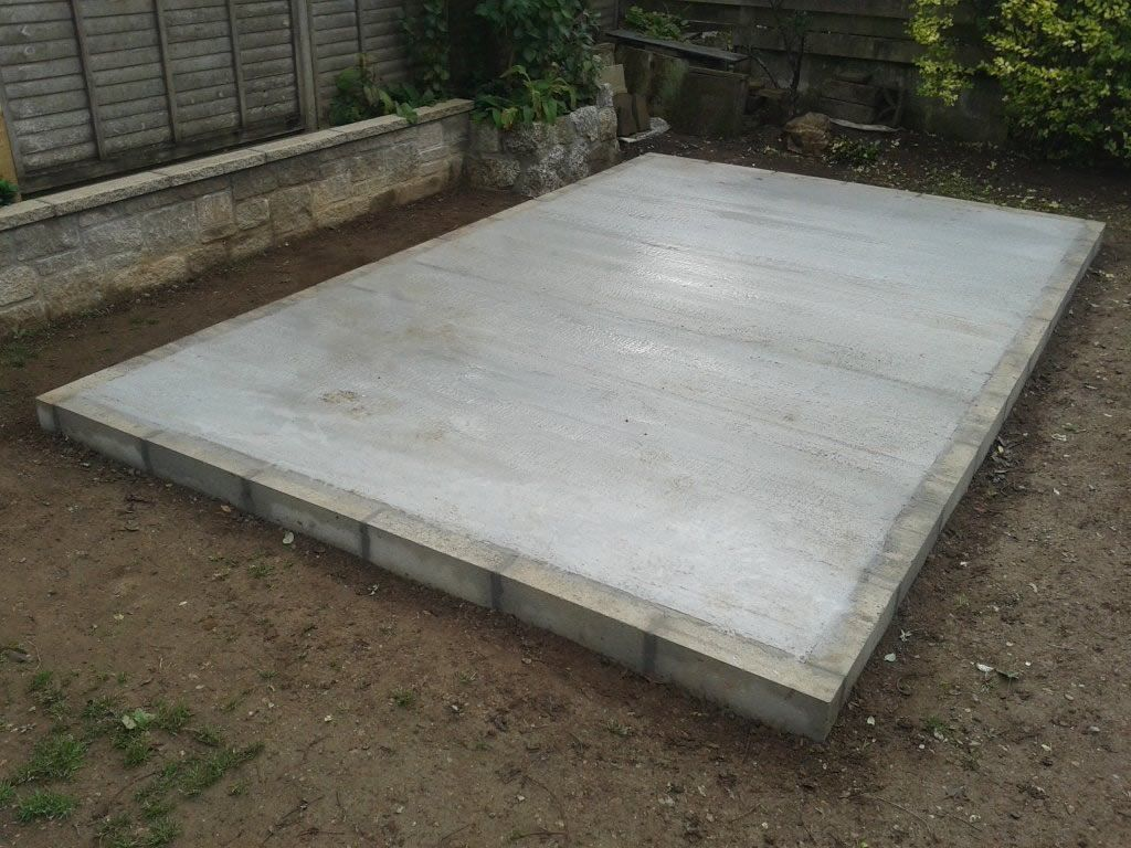 Concrete shed base installers orpington bromley beckenham for Concrete slab plans