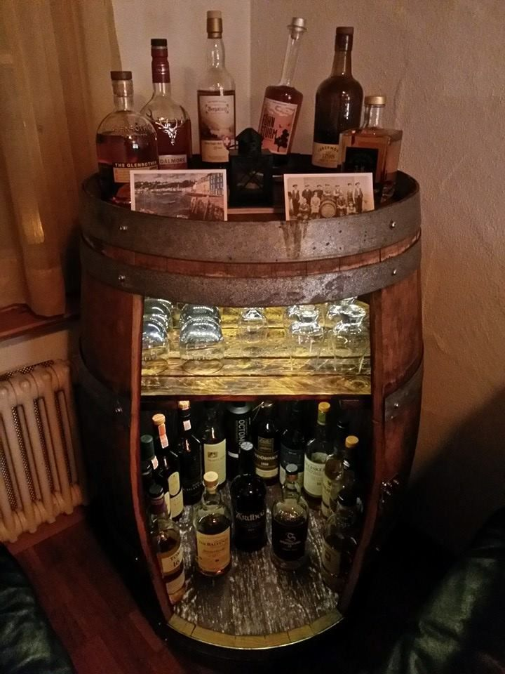 Whiskey Barrel Repurposed As A Diy Man Cave Whiskey Bar