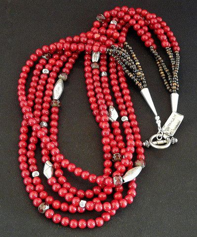 Burgundy Coral 5-Strand Necklace with Czech Luster Glass and Stamped, Ornate Sterling Silver