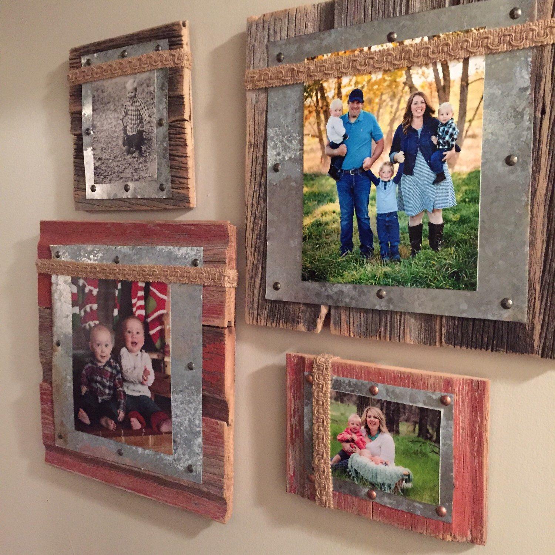 Barnwood Picture Frame- Barnwood, Tin & Burlap Photo Frame | Fotowand