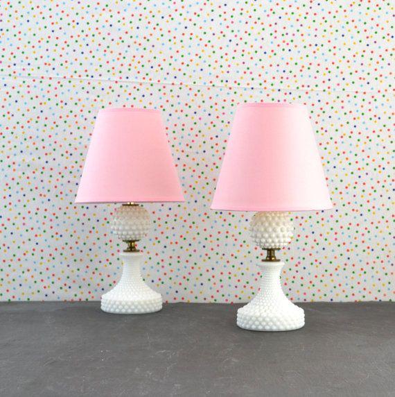 White Hobnail Lamps   Pink Shade   White Polka Dots   Bedside Table Lamp    Girls. White Hobnail Lamps   Pink Shade   White Polka Dots   Bedside