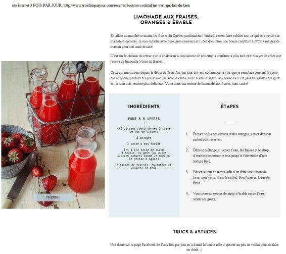 Cure jus recette détox / santé vitalité régime / rouge limonade