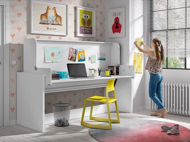 Lit transformable dinamik en grand bureau bois laqué blanc