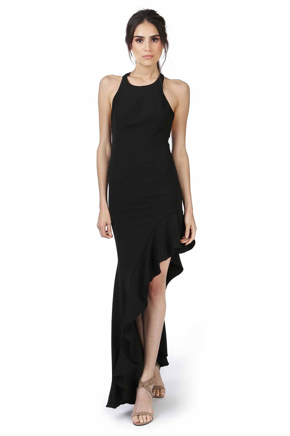 81c9a8ff2a BELL BLACK MAXI was  524 now  157 RACER FRONT HIGH SLIT GOWN WITH  ASYMMETRICAL RUFFLE HEM IN OUR SIGNATURE CREPE FABRIC. LOW T BACK WITH  HIDDEN ZIPPER.