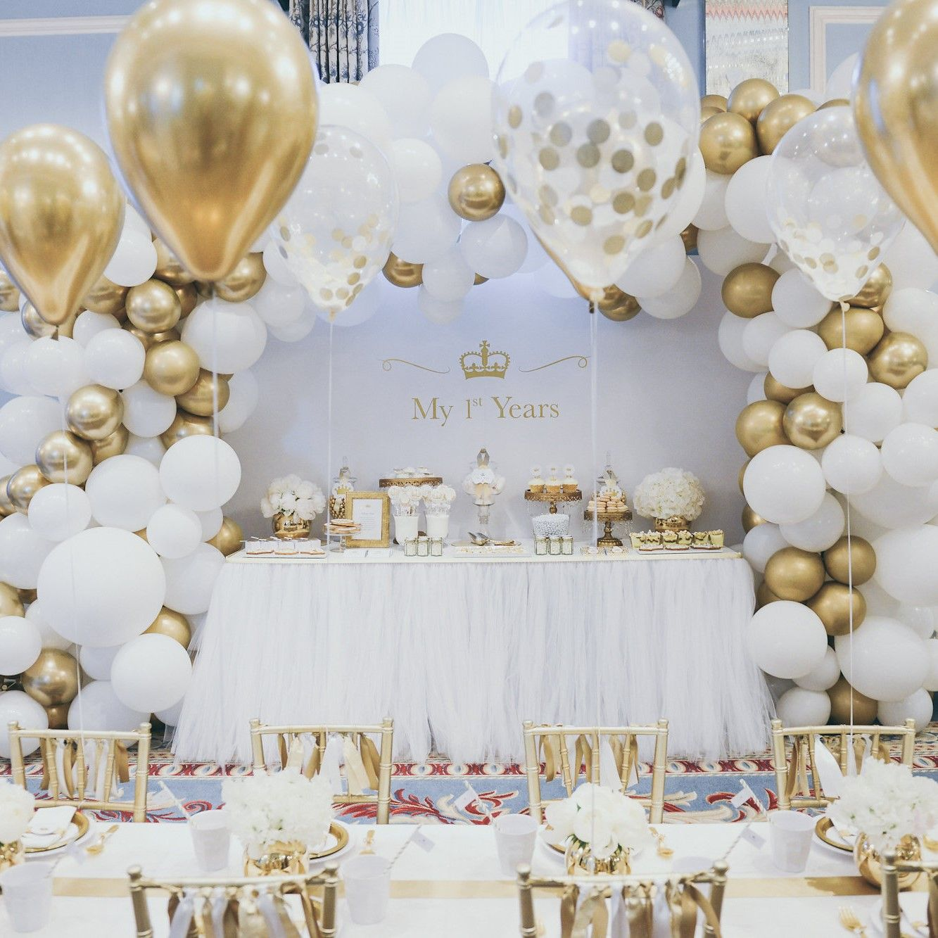 Balloon Arch With Images Gold Theme Party Gold Birthday Party