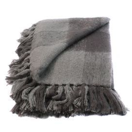 Perfect for spreading on a grassy slope or accenting the foot of your bed, this chic throw offers crisp summer style.  Product: ThrowConstruction Material: Faux mohairColor: GreyFeatures:  Super soft to the touchPlaid design Dimensions: 50 x 70
