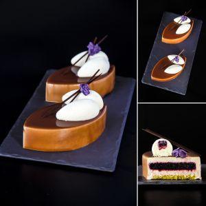 "Nina Tarasova. Individual cake ""Violet"": pistachio sponge cake; blackberry jelly; violet mousse with raspberry; mirror glacage and chocolate decoration."