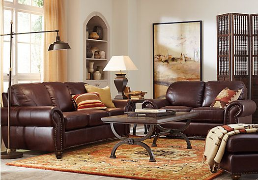 Brockett 3 Pc Brown Leather Living Room 2 077 00 Find