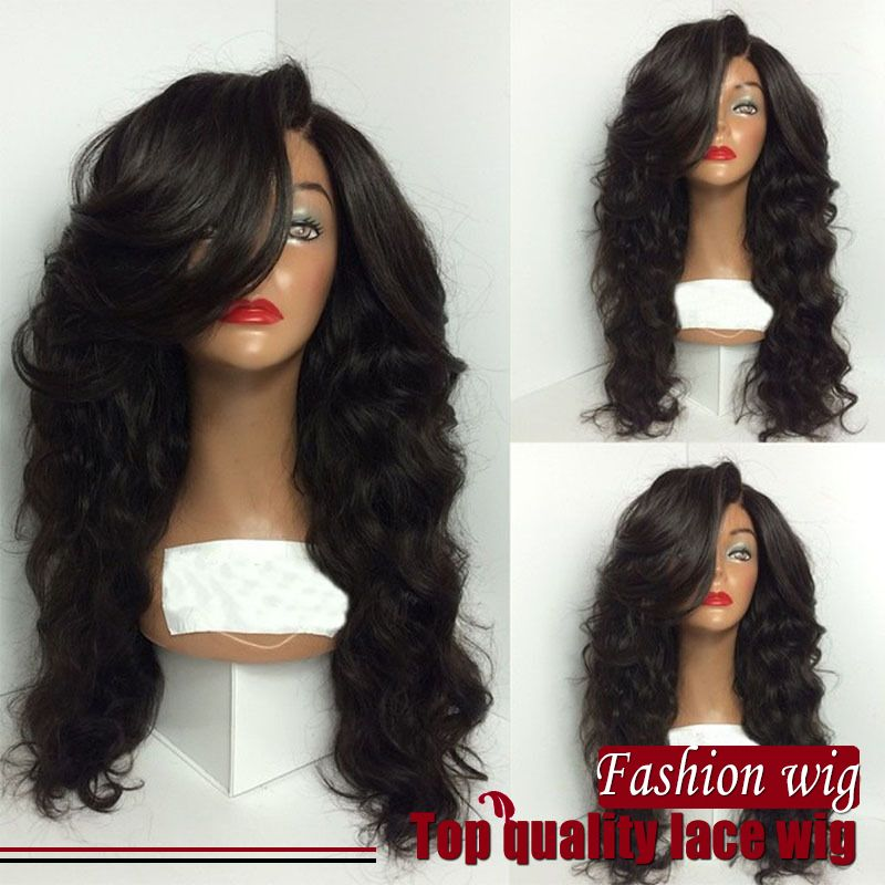 (Buy here: http://appdeal.ru/2d8i ) Free Shipping High Quality Heat Resistant 1B# Black Color Loose Wave Wig Synthetic Lace Front wig with Side Bang for Black Women for just US $45.00