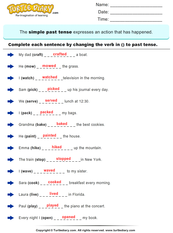 Change the Verbs to past Tense Form Answer | Worksheets ...