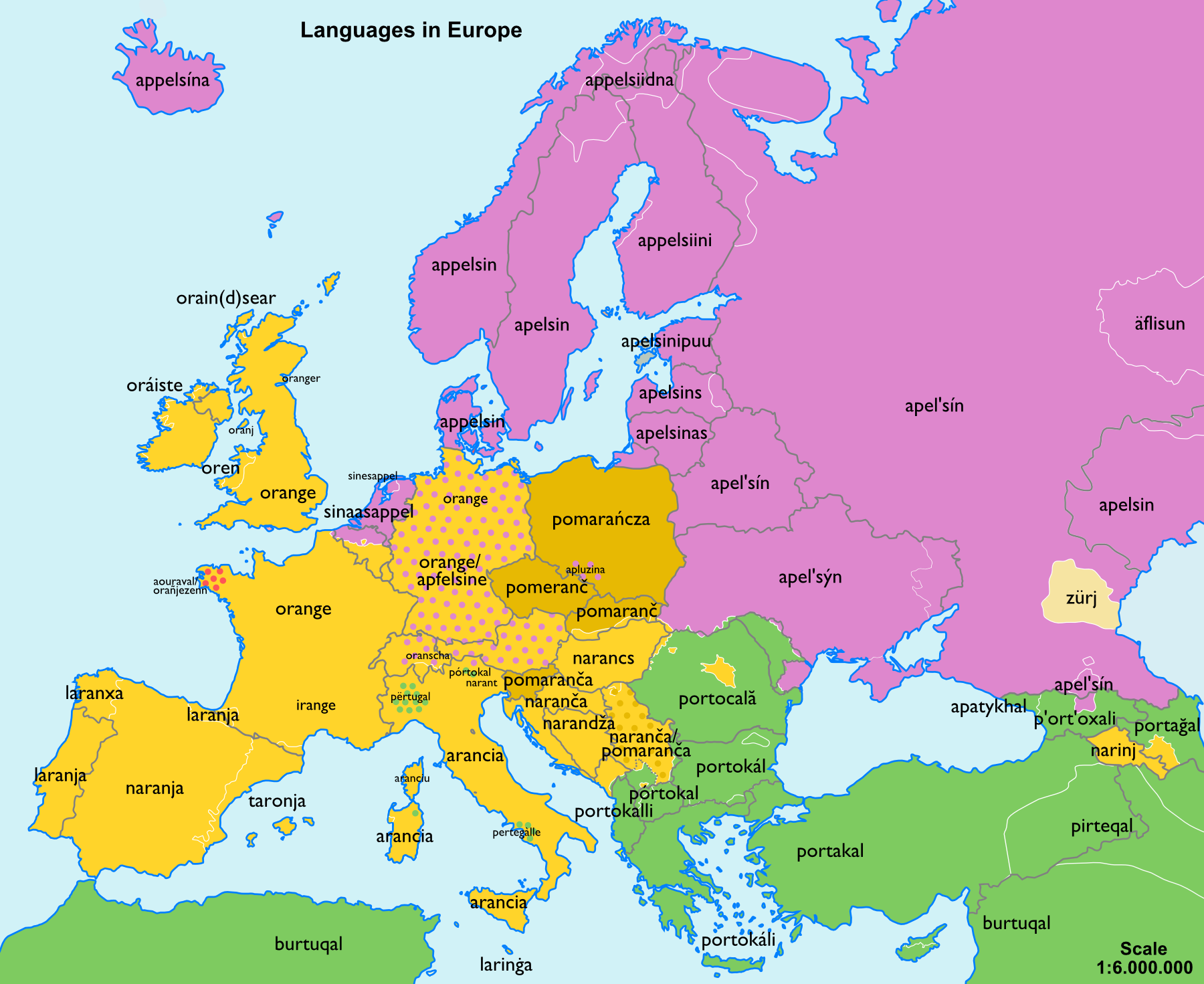 How to say orange around europe oranges orange fruits a cucumber map of europe linguistic distribution sciox Image collections