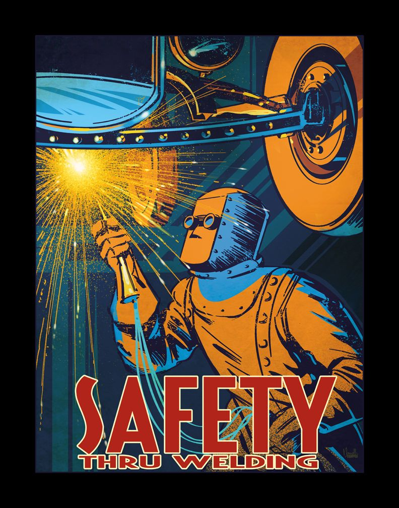 RARE Jeff Norwell Welding Safety Poster Art Print WPA Hot