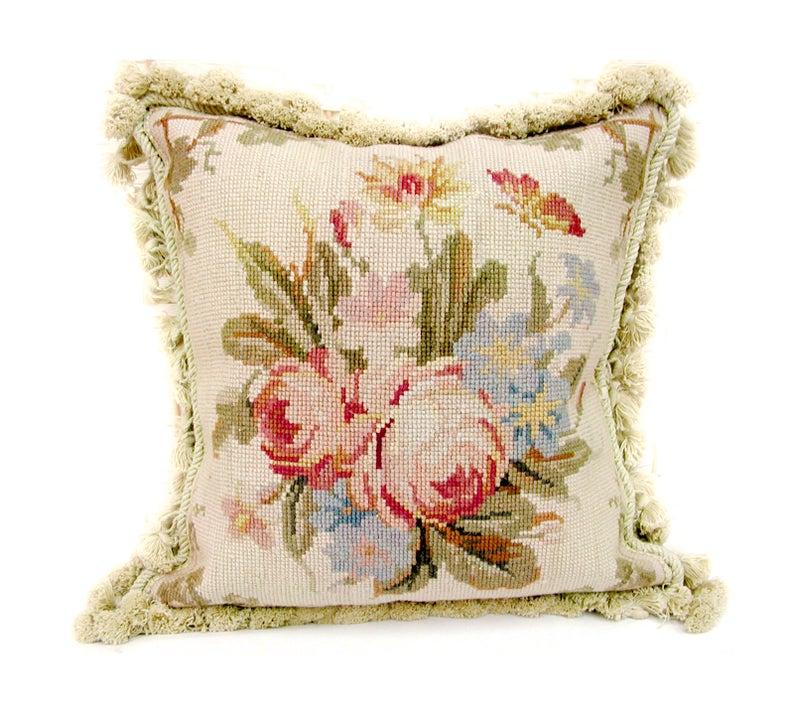Needlepoint Pillow Rose Bouquet