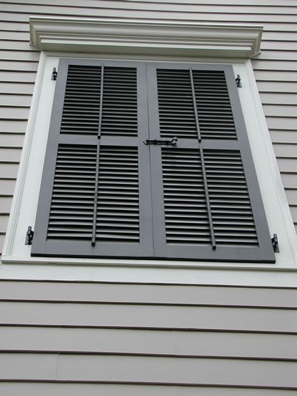 False Window With Louvered Shutters Slide Bolt And Faux Tilt