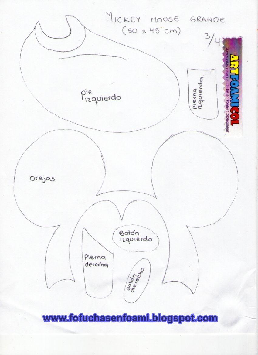 Molde mickey plano 3. | FOFUCHAS PLANAS | Moldes, Fofucha y Fofuchas ...