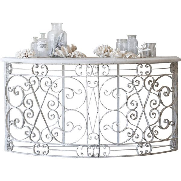 Eloquence Balcony Distressed White Console Table ($3,750) ❤ liked on Polyvore featuring home, furniture, tables, accent tables, antiqued white furniture, antiqued furniture, antique wash table, white table and white furniture