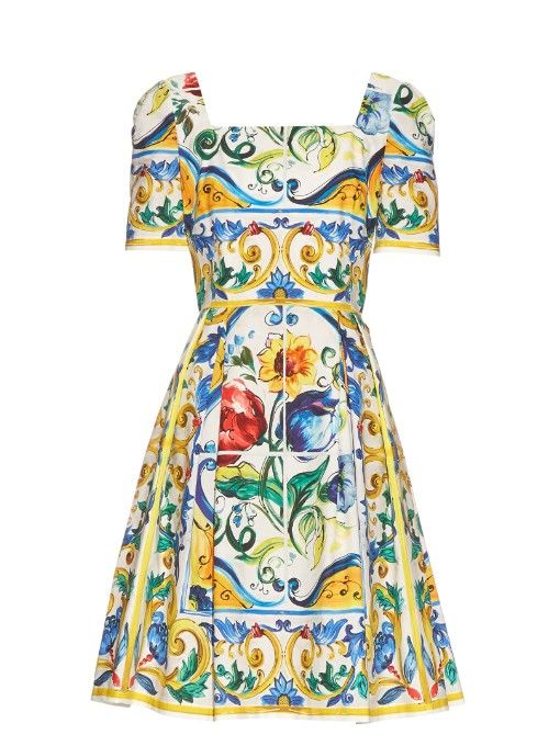 1138224c DOLCE & GABBANA Majolica-Print Cotton Mini Dress. #dolcegabbana #cloth # dress