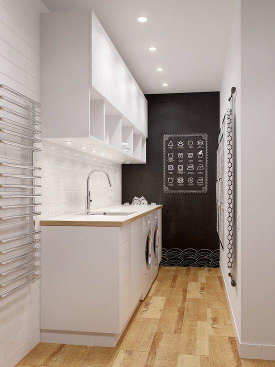 einrichtungsidee für kleine moderne waschküche im keller - kleine küchen gestalten