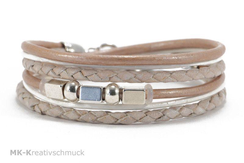 Wickelarmband Leder mit Perlen und Stern von MK-Kreativschmuck  http://de.dawanda.com/product/98216651-wickelarmband-leder-mit-perlen-und-stern