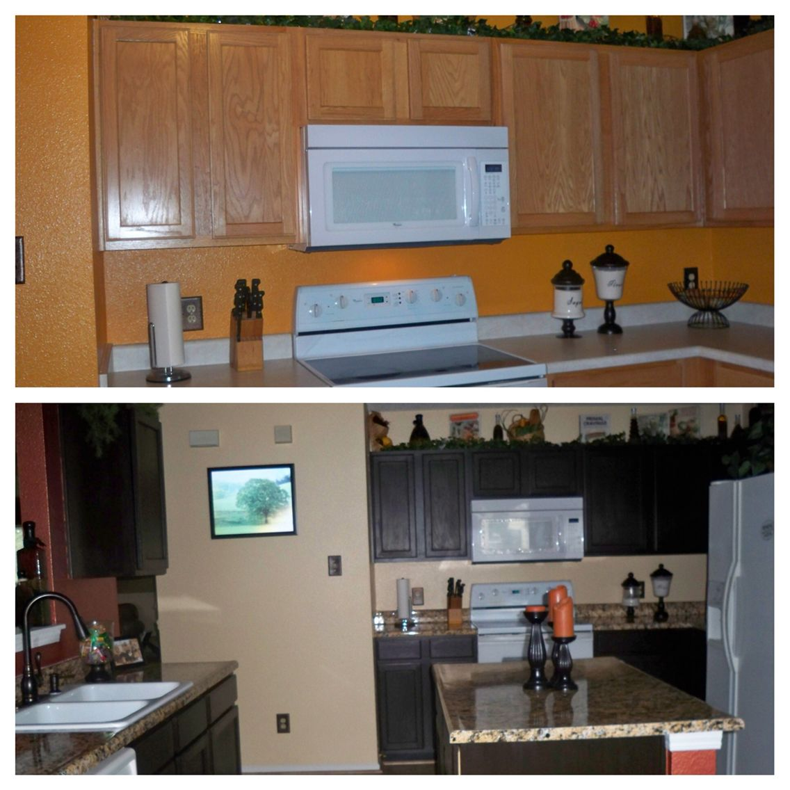 Kitchen Makeover Remodel Stainedcabinets Resurfacedcounters Home Kitchen Kitchen Cabinets
