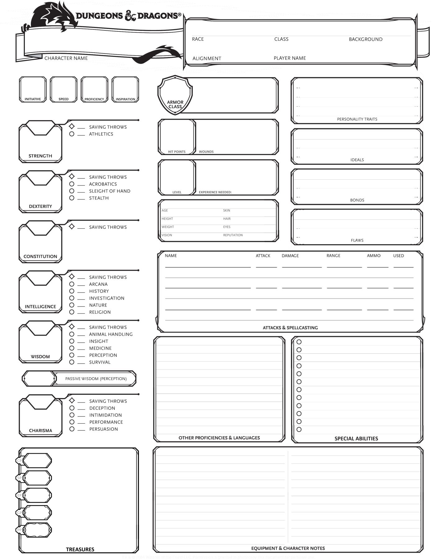 Dungeons Amp Dragons 5th Edition Character Sheet