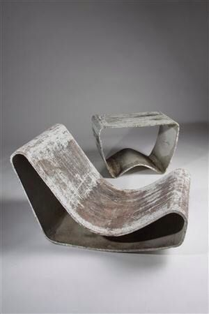 Concrete chairs & table, by Willy Guhl for Eternit, Switzerland. 1956a