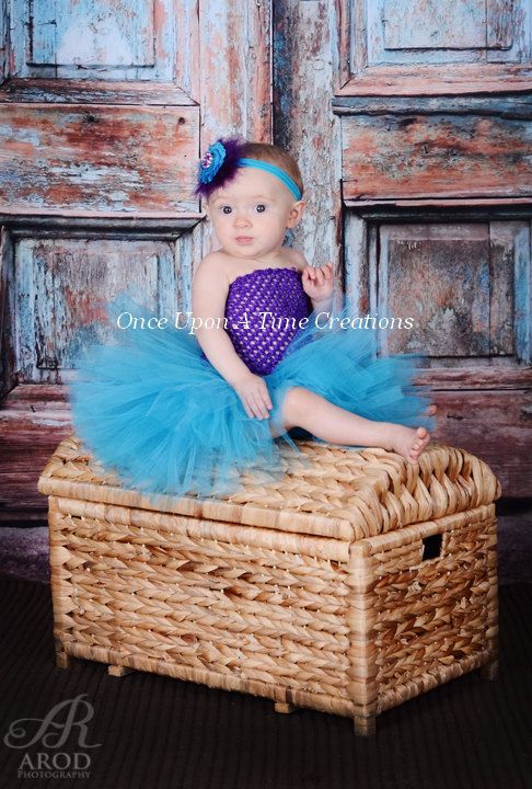 Purple and Turquoise Blue Tutu Dress - Birthday Outfit, Halloween ...