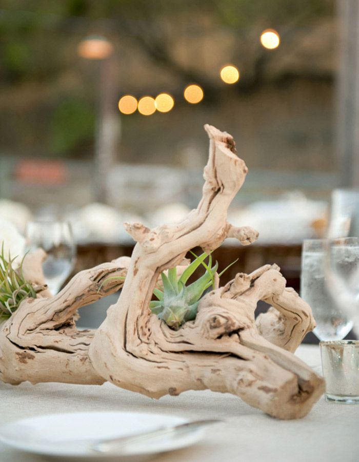 Trade the floral arrangements for earthy driftwood centerpieces at trade the floral arrangements for earthy driftwood centerpieces at your wedding reception junglespirit Image collections