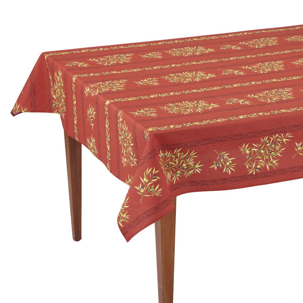 Clos Des Oliviers Rouge Striped Rectangular French Tablecloth French Tablecloths Table Cloth Vinyl Tablecloth
