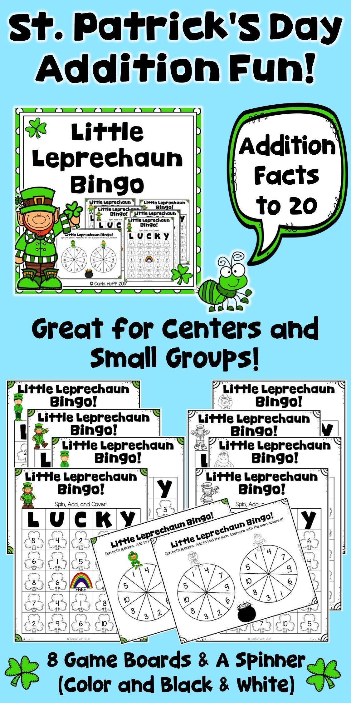 St. Patrick\'s Day Addition Bingo | Addition chart, Addition facts ...