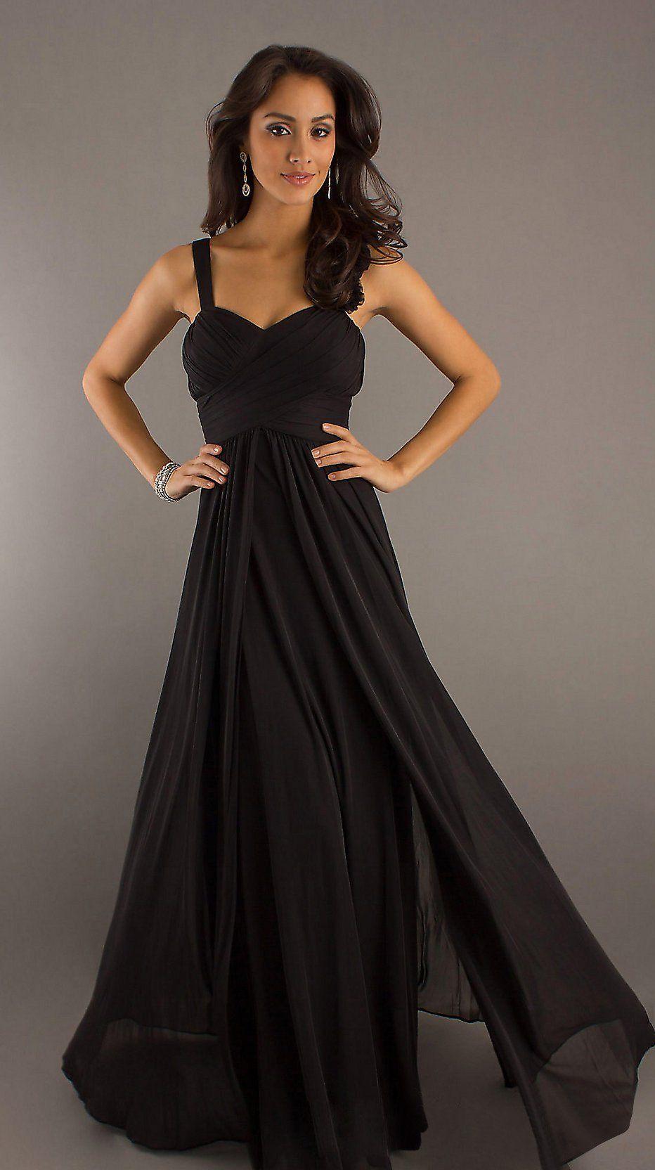 Floor Length Black Chiffon Flowy Semi Formal Dress Empire Waist 9