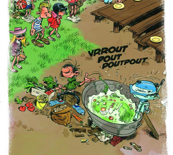Gaston prépare une soupe pour une colonie de vacances...