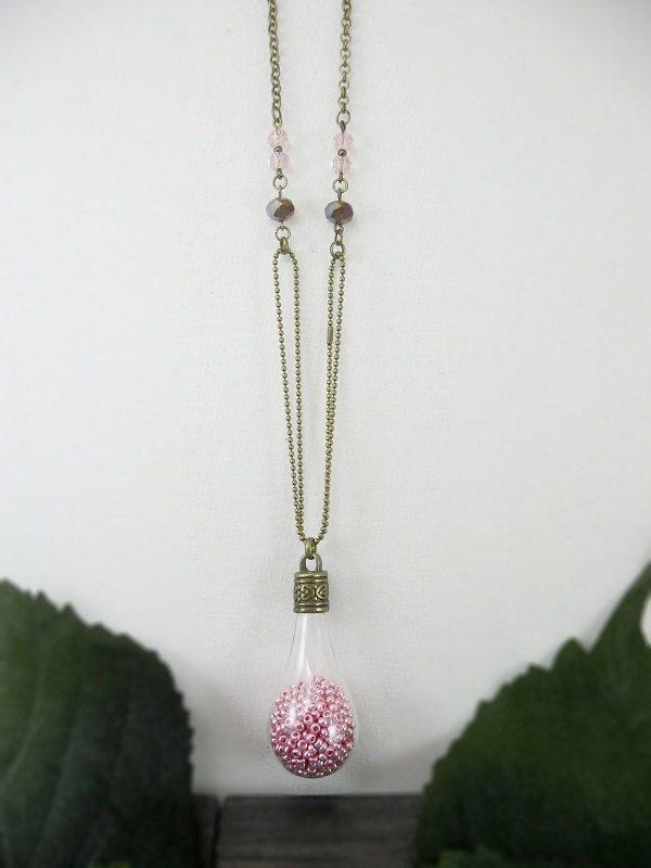 Pink teardrop necklace, Glass bulb necklace, Glass jewelry by TriccotraShop on Etsy