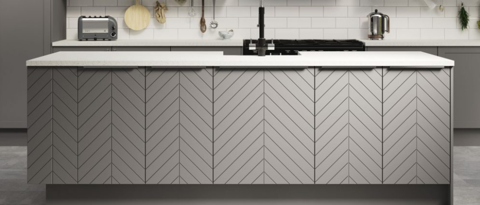 Chevron Grey Chevron kitchen, White kitchen worktop