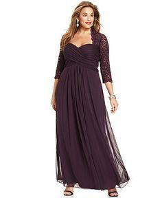 Xscape Plus Size Dress, Three-Quarter-Sleeve Glitter Lace Ruched ...
