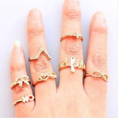 Unisex Ring Set European Style Infinity Crown Multi Finger Ring(7pcs/set) 2015 – $2.99