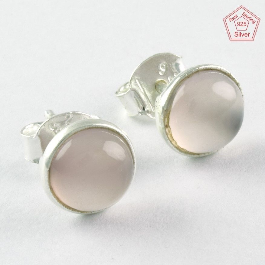 Rainbow moonstone sterling silver ear studs - Stone size 7mm FMBVoT