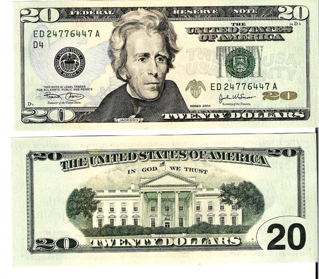 20 Dollar Bill Front And Back Actual Size