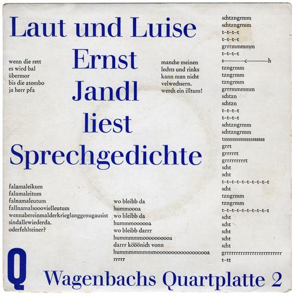 Laut Und Luise Ernst Jandl Liest Sprechgedichte Jandl