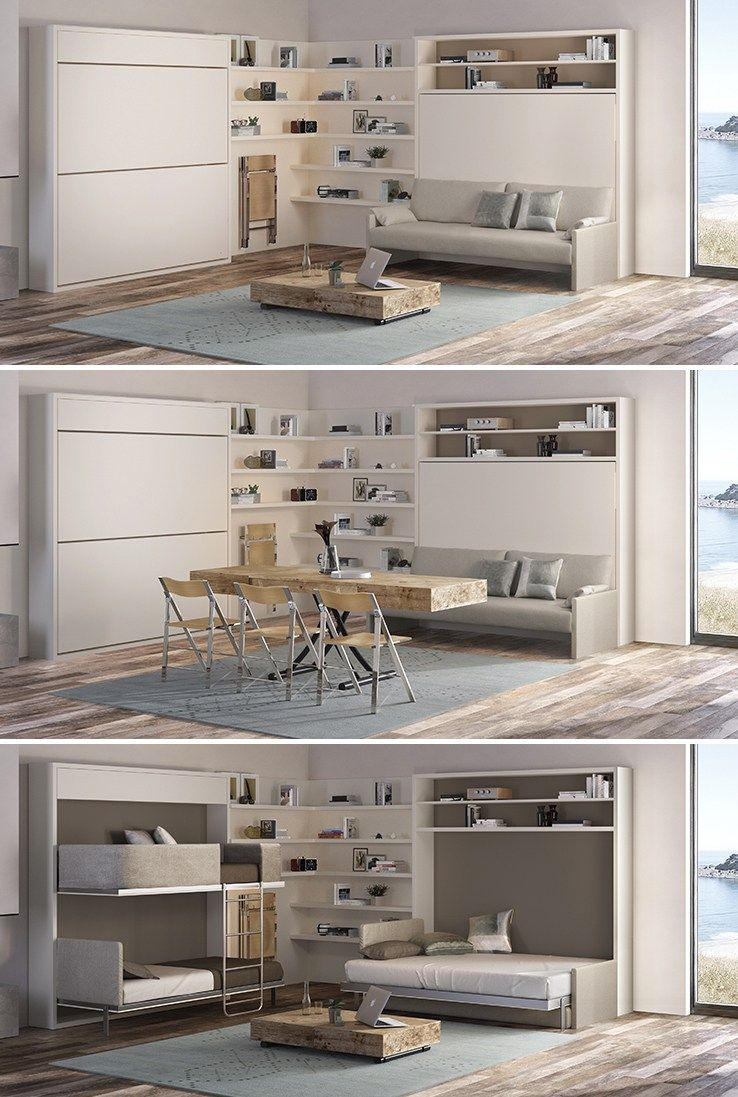 Coffee tables bed wall murphy bed and dining