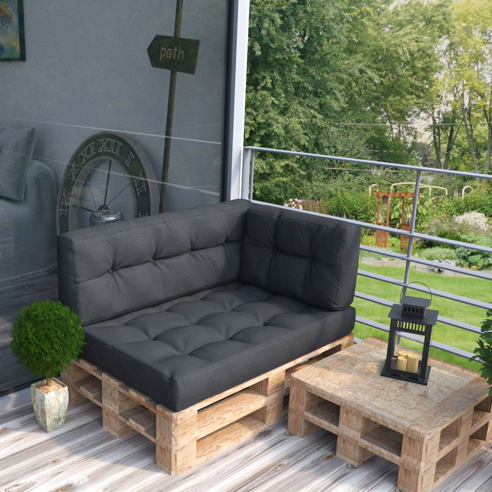 palettenkissen palettensofa palettenpolster kissen polster auflage anthrazit in garten. Black Bedroom Furniture Sets. Home Design Ideas