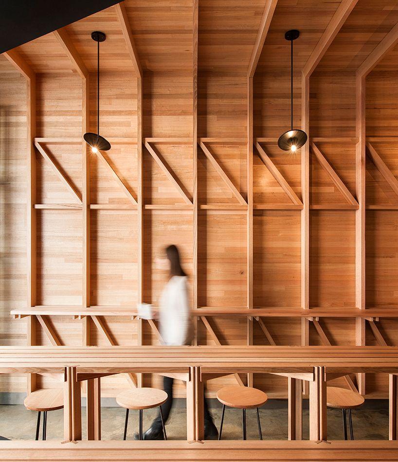 Studio Gram Diagonally Divides Adelaide Cafe Into Two Wood PartitionInterior Design BlogsDesign