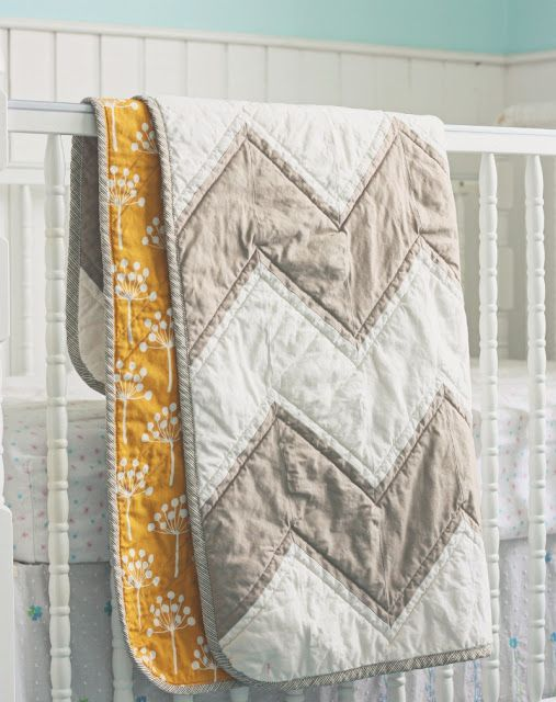 tone on tone chevron quilt with yellow backing