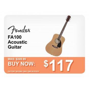 117 00 Was 249 00 Fender Fa 100 Dreadnought Acoustic Guitar Natural Reboxed Bargain Bro Guitar Acoustic Guitar Acoustic
