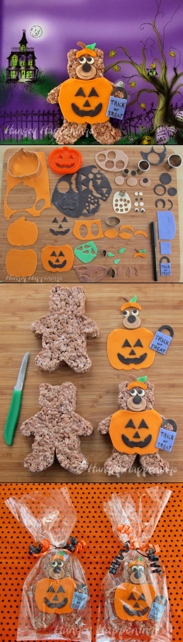 Cocoa Krispies Trick or Treat Bears in pumpkin costumes for Halloween - created via http://pinthemall.net